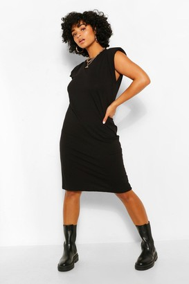 boohoo Plus Jersey Shoulder Pad T-Shirt Midi Dress