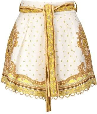 Zimmermann Bells Printed Linen Shorts