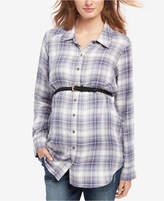 Motherhood Maternity Belted Plaid Shirt