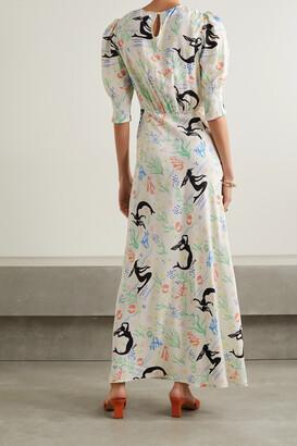 Rixo Lucile Printed Crepe Maxi Dress - White