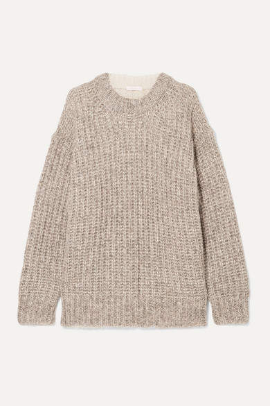 See by Chloe Oversized Ribbed Two-tone Knitted Sweater - Beige