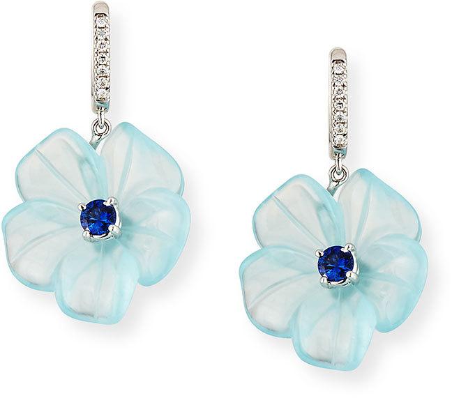 Rina Limor Fine Jewelry Floral Aquamarine & Sapphire Earrings with Diamonds
