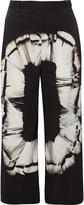 Halston Printed silk-blend culottes