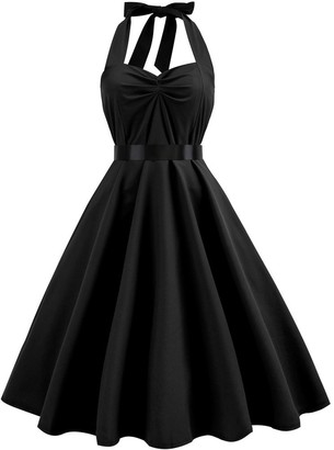 pitashe Women's Halter Dress Solid Plus Size Vintage Hepburn Style Swing Dress 1950s Rockabilly Audrey Dress Retro Evening Party Cocktail Dress Black