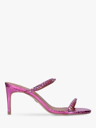 Kurt Geiger Priya Leather Snake Print Embellished Sandals, Pink