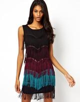 Rare Dress With Multicoloured Fringe
