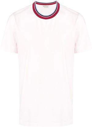 Marni coloured stripe collar T-shirt
