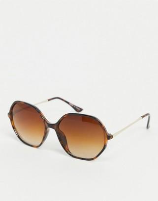 Accessorize Helena hexagon frame sunglasses in tortoise shell