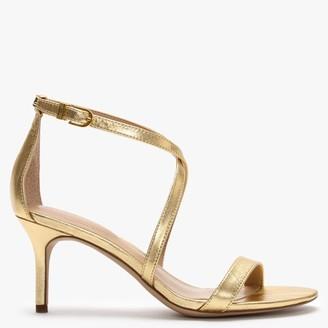 Lauren Ralph Lauren Leaton Gold Leather Cross Strap Sandals