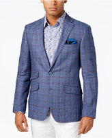 Tallia Men's Slim-Fit Blue and Red Plaid Sport Coat