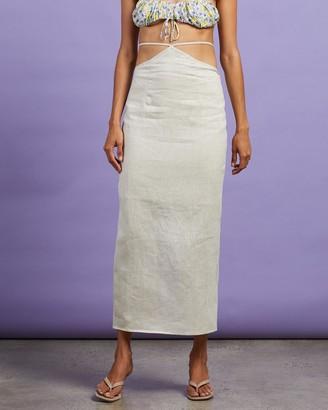 Dazie - Women's Neutrals Midi Skirts - Riviera Linen Midi Skirt - Size 6 at The Iconic