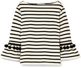 Marc Jacobs Pompom-embellished Striped Cotton-jersey Top - Ecru