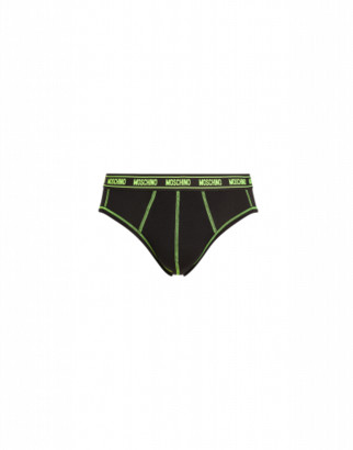 Moschino Fluo Stitchings Brief Man Black Size L It - (m Us)