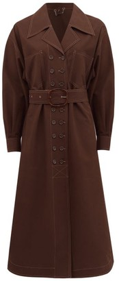 Fendi Double-breasted Belted Cotton Trench Coat - Womens - Brown