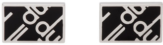 Dunhill Silver and Black Logo Cufflinks