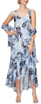 Alex Evenings Printed High-Low Dress & Shawl