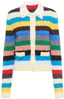 Miu Miu Striped Cable-Knit Cardigan