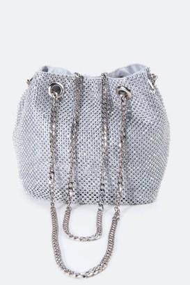 francesca's Dani Mini Rhinestone Bucket Bag in Silver - Silver