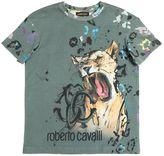 Roberto Cavalli Leopard Print Cotton Jersey T-Shirt