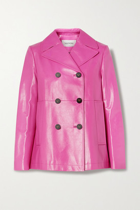 Valentino Double-breasted Leather Coat - Pink