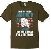 Cherokee Men's America Was Born In My Land I'm A T Shirt XL