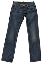DSQUARED2 Leather-Accented Straight Leg Jeans