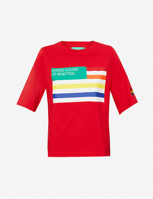 Benetton Logo flag-print cotton-jersey T-shirt