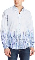 Stone Rose Men's Graffiti Print Long Sleeve Button Down Shirt