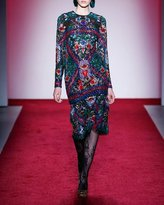 Naeem Khan Long-Sleeve Cocktail Dress with Embellished Floral Embroidery, Multicolor