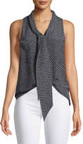 Theory Sleeveless Box Tile Crepe de Chine Scarf Shirt