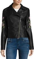 Joujou Jou Jou Faux Leather Embroidered Moto Jacket-Juniors