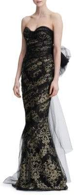 Marchesa Strapless Metallic Corded Lace Gown