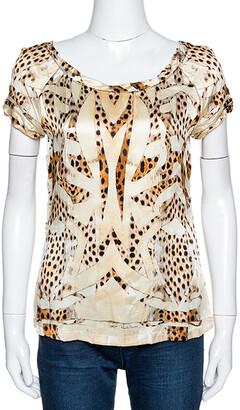 Roberto Cavalli Cream and Beige Silk Leopard Print Short Sleeve Top S