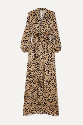 Temperley London Piera Bow-detailed Leopard-print Hammered Silk-satin Gown - Leopard print