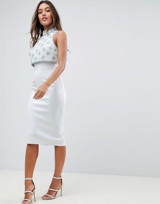 Asos Design DESIGN embellished crop top midi scuba pencil dress