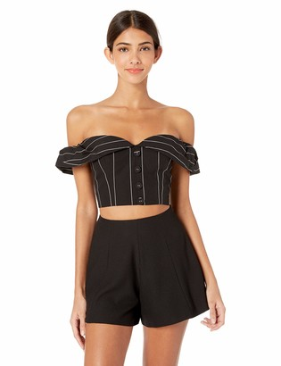 Finders Keepers findersKEEPERS Women's ALPS Strapless Cropped Pinstripe Bustier Bodice TOP