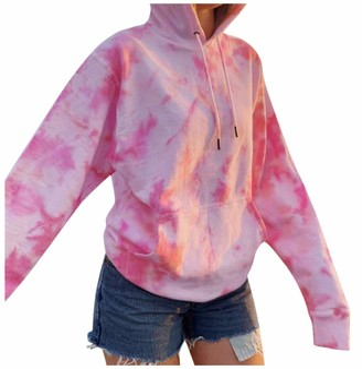 Beetlenew Womens Tie Dye Tops Fashion Color Block Drawstring Pocket Hoodie Autumn Casual Loose Long Sleeve Print Hooded Sweatshirt Oversized Pullover Top Hoody T-Shirts Jumper for Teen Girls Green