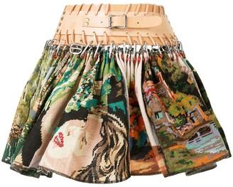 Chopova Lowena Cross Stitch Pleated Mini Skirt