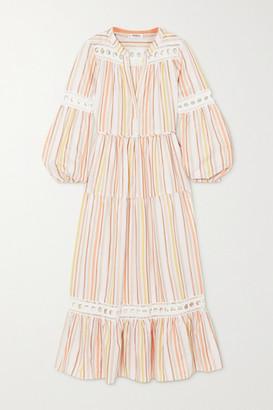 Lemlem + Net Sustain Retta Lace-trimmed Metallic Striped Tencel-blend Dress - Pastel pink