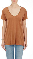 Helmut Lang Women's Slub Scoopneck T-Shirt-DARK BROWN