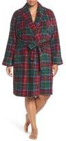 Lauren Ralph Lauren Short Print Fleece Robe (Plus Size)