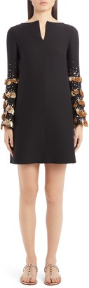 Valentino Sequin Bell Sleeve Wool & Silk Shift Dress