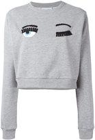 Chiara Ferragni embellished eyes sweatshirt - women - Cotton/Polyester/Spandex/Elastane - S