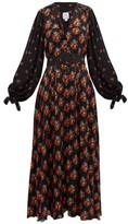 Gül Hürgel Contrast-sleeve Belted Poplin Dress - Womens - Navy Print