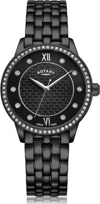 Rotary EXCLUSIVEBlack Textured Swarovski Set Dial Black IP Stainless Steel Bracelet Ladies Watch