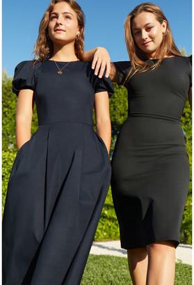 G. Label Ficchi Puff-Sleeve Keyhole-Back Dress