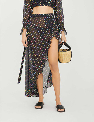 Agent Provocateur Sidnie polka-dot ruffle-trim silk-crepe maxi skirt
