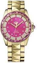 Juicy Couture Stella Women's Quartz Watch with Pink Dial Analogue Display and Gold Rose Gold Bracelet 1901131