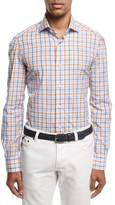 Isaia Windowpane Check Sport Shirt, Blue/Rust