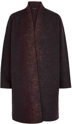 Eileen Fisher Dark Grey And Plum Wool-blend Jacket